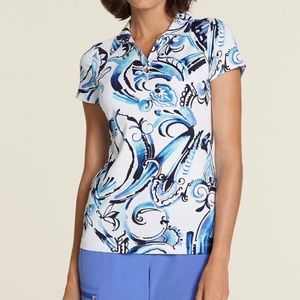 Zenergy Golf By Chicos Watercolor Scroll Polo Top